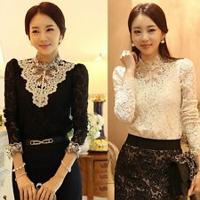Fashion Summer Women Casual Long Sleeve Lace Crochet Shirt Blouse Ladies Tee Top