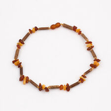 Natural Amber Baby Necklace with Raw Unpolished Chips Beads and Hazelwood