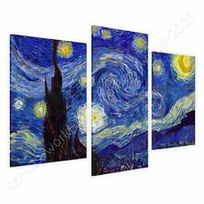 CANVAS +GIFT Starry Night Vincent Van Gogh 3 Panels Giclee Pictures Painting