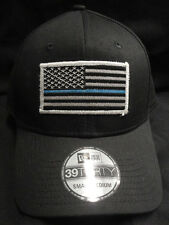 New Era NE1000 Black Stretch Cap/Hat With Thin Blue Line American Flag Patch