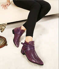 Womens PU Pointed Toe Low Heels Buckle Snakeskin Boot Casual Pumps Classic Shoes