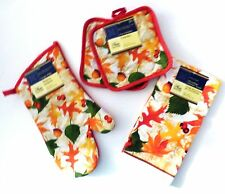 "Fall Leaves Collection Kitchen Linen Oven Mitt, Towels, Pot Holders ""You Choose"""