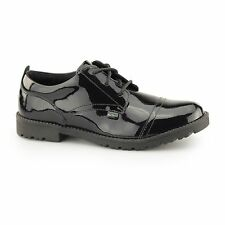 Kickers LACHLY LACE Girls Durable Laced Leather School Derby Shoes Patent Black