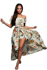 New fashion sexy women Beige Multi-color Floral Romper Maxi Dress evening party