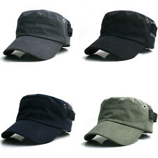 Unisex Mens Womens Unicolor Plain Velcroed Cadet Military Cap Trucker Sun Visor