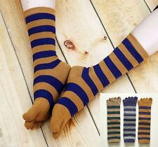 3Prs Womens Cotton Striped Five Finger Toe Socks Casual Sports Crew Socks Sz 5-8