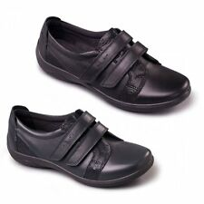 Padders VERSE Ladies Leather Extra Super Wide EEE/EEEE Touch Fasten Flats Shoes
