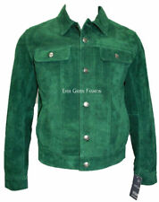 Men's Green SUEDE 1280 trucker Classic FITTING Cowhide Western Leather Jacket