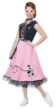 50s Pink Poodle Sweetie Adult Womens Costume, Black/Pink, California Costume