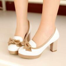 Chic Womens Bowknot Round Toe Formal Platform Pumps Court Shoes New Lined Decor