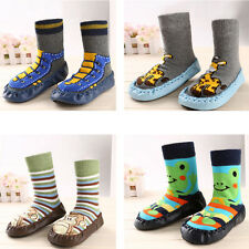 Children Infant Cartoon Shoes Indoor Faux Leather Sole Non-Slip Warm Thick Socks