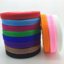 "50 yard Roll Spool 3/8"" 9mm Satin Edge Sheer Organza Ribbon Craft 12 color M"