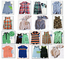 NWT Boys Baby Romper Sunsuit Carters Chaps Summer Outfit Hat Set 0-24 NEW plaid