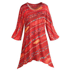 Tunic Top - Bright Red Feathers Striped Sharkbite Shirt