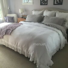 Shabby 100% Linen Ruffle bed Duvet Quilt cover twin queen king French chic