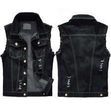 Men Denim Motorcycle Rider Jean Vest Sleeveless Jacket Biker Shirt Wasitcoat