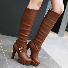 Size 5-11 Womens Pleated Buckle Knee High Boots Round Toe Platform High Heels