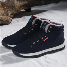 New Winter Warm Mens Flat Athletic Fur Lined Ankle Boots lace-up Casual Sneakers