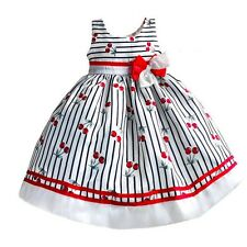 Girls Dress Striped Cherry Bow Party Pageant Birthday Casual Kids Clothes 3-8