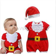 Hot Baby Girls Boys Christmas Claus Santa Hat+Romper Outfit Costume Xmas Clothes