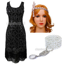 1920's Flapper Dress Gatsby Sequins Fringe Deco Downton Abbey Costumes Size 4-20