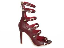 Burgundy Red Strappy Caged Open Toe High Heels Stiletto Booties - Faux Leather