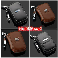 Unisex Genuine Cow Leather Women Men Zipper Car Key Bag Chain Ring Case Holder