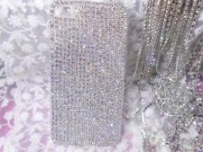 For Mobile Phone Sparkly Silver Rhinestones Bling Diamonds Gems Hard Cover Case