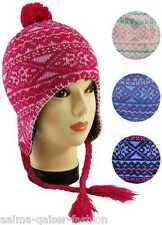 CHILDRENS GIRLS KIDS THERMAL LINED WINTER PERUVIAN INCA HAT FREE DELIVERY