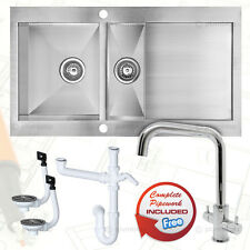 1.5 Bowl Stainless Steel Kitchen Sink Reversible Drainer + Two Handle Mixer Tap