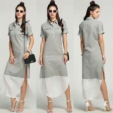 Women Summer Sexy Side Slit Striped Casual Party Cocktail Maxi Long Shirt Dress