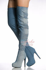 2017 Fashion Women Platform Round Toe High Heel Over the Knee Boots Blue Denim