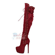 New Fashion Women Over the Knee Boots Round Toe Lace Up Zipper High Heel Boots