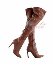 Fashion Women High Heel Boots Pointed Toe Over the Knee Boots Stiletto Plus size