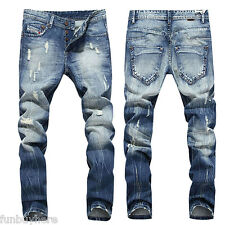 New Men's Slim Fit Straight Washed Denim Jean Pants Pencil Trousers Casual Jeans