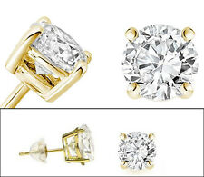 Solid 14k Yellow Gold and Round Cubic Zirconia CZ Solitaire Basket Stud Earrings