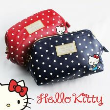 Hello Kitty Zip Cosmetic Pouch Makeup Bag Purse Case Dot Sanrio from Japan R1895