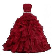 New Red Pleat Beads Ball Train Customize Wedding Dress 2 4 6 8 10 12 14 16 U876