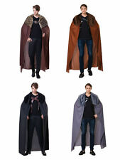 MENS CAPE WITH FUR COLLAR JOHN SNOW HALLOWEEN COSTUME MEDIEVAL ADULT