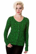 BANNED APPAREL GREEN LEOPARD CARDIGAN CBN301 vintage retro goth punk pinup SMALL