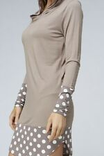 New Made in USA Women Polka Dot Hoodie Long Sleeve Tunic Top Dress Pullover
