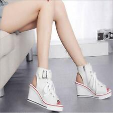 Womens Classical Canvas High Top Sandal Wedge Heels Peep Toe Zip Sneaker Shoes