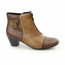 Rieker 70581-25 Ladies Leather Warm Lined Centre Zip Mid Heel Ankle Boots Brown