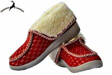 Ladies Women's Warm Sheep Wool Moccasins House Shoes Red Winter Boots Slippers