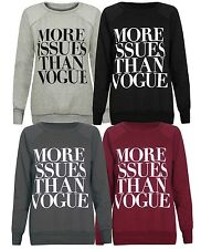 new ladies more issues than vogue sweatshirt long sleeve jumper sweater 8 - 14