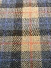 Harris Tweed Fabric & labels 100% wool brown/blue/beige check -  ideal for craft