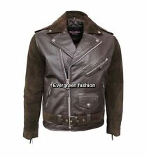 Men's BRANDO BROWN Suede Retro Designer Fitted Real CowHide Leather Biker Jacket