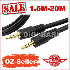 AUX Cable 3.5mm Stereo Audio Male to Male Headphone Ipod MP3 Mobile 1.5m-20m
