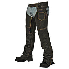 Men's and Women's Distressed Leather Crazy Horse Motorcycle Chaps Black