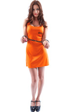 Ladies Sexy Orange Convict Prisoner Womens Fancy Dress Costume
